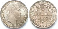 Bayern  1867 stgl BAYERN 1/2 Gulden 1867 LUDWIG II