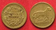 Nürnberger Rechenpfennige  SPIELMARKE v. LAUER (unsigniert) ca.1900 LÖWIN Messing 16mm SELTEN!!! # 93418