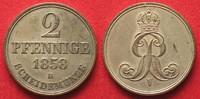 Hannover, Königreich  HANNOVER 2 Pfennig 1858 B GEORG V. - Silberabschlag - RAR!!! # 94232