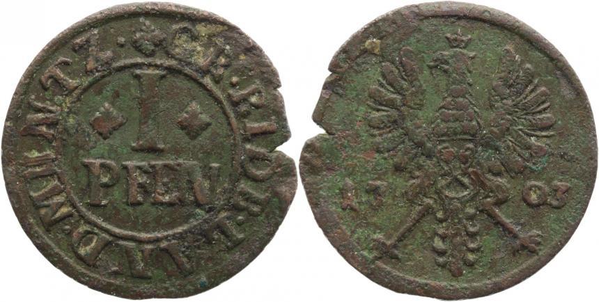 Cu I Pfennig 1703 Rietberg-Grafschaft Maximilian Ulrich 1699-1746. Randfehler, dicke Patina, fast sehr schön