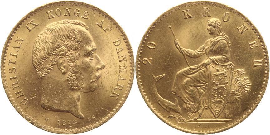 20 Kronen Gold 1876 CS Dänemark Christian IX. 1863-1906. kleine Kratzer, winz. Randfehler, gutes vorzüglich