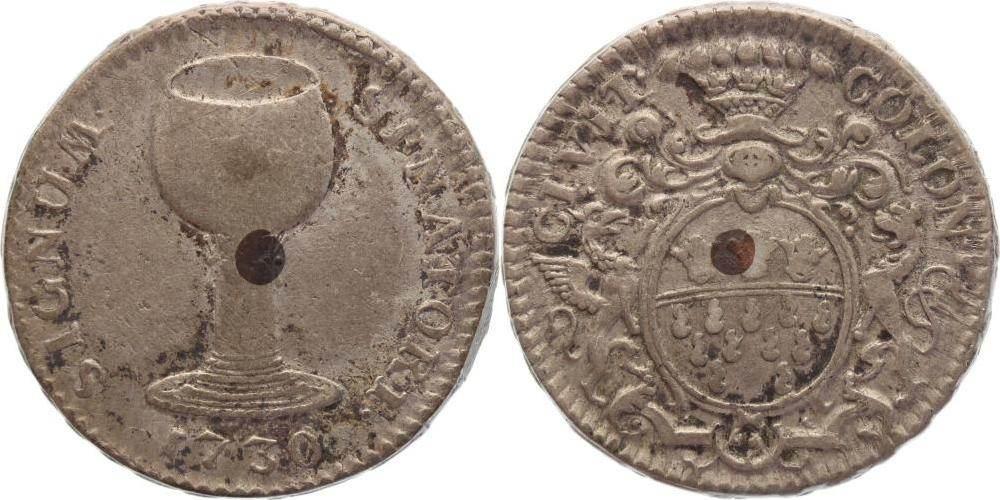 Silbernes Weinzeichen mit Kupferstift 1730 Köln-Stadt Sehr schön