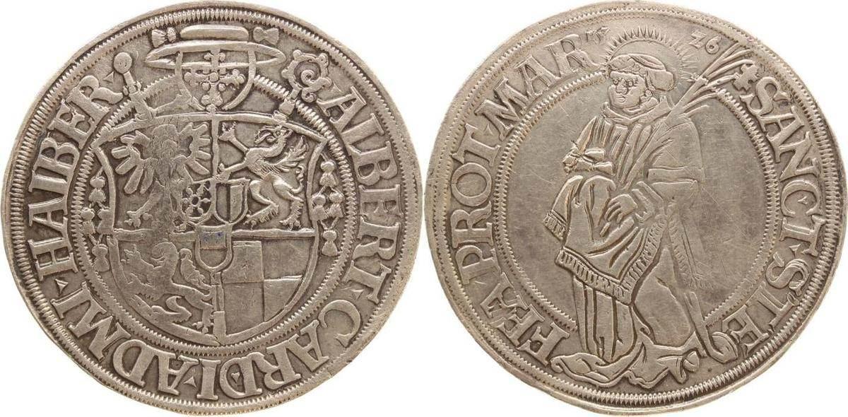 Taler 1526 Halberstadt-Bistum Albrecht von Brandenburg 1513-1545. Äußerst selten, leicht gereinigt, winz. Kratzer, sehr schön