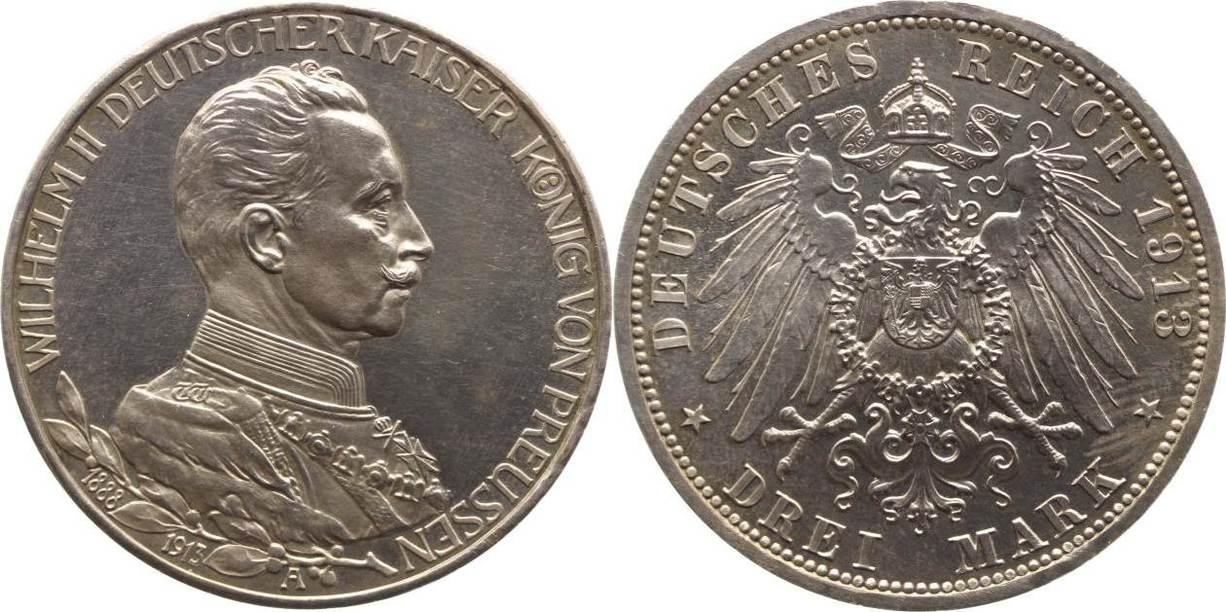 3 Mark 1913 Preußen Wilhelm II. 1888-1918. Winz. Flecke, min.Berieben, Polierte Platte