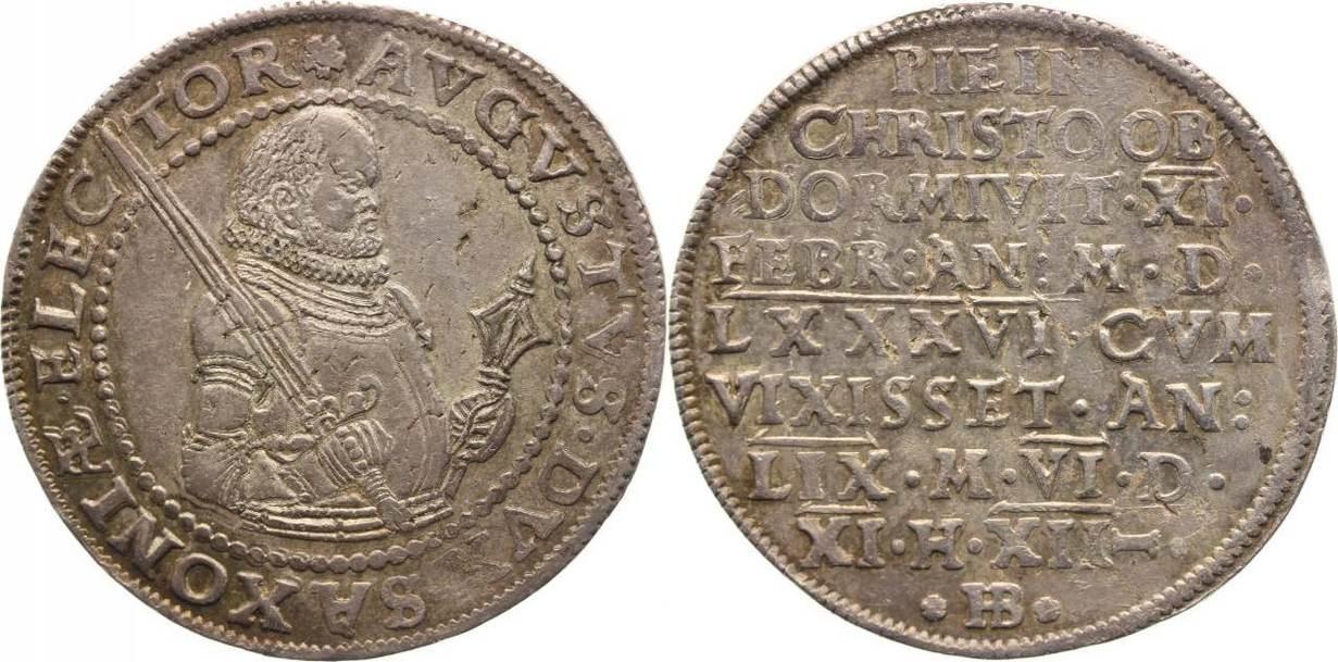1/2 Taler 1586 Sachsen-Albertinische Linie August 1553-1586. Selten, Schöne Patina, winz. Schrötlingsfehler, vorzüglich