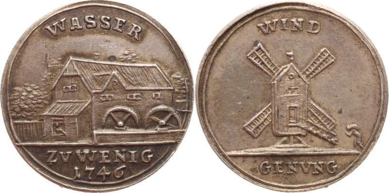 Kleine Ag-Medaille 1746 Schlesien-Breslau, Stadt Schöne Patina, vorzüglich