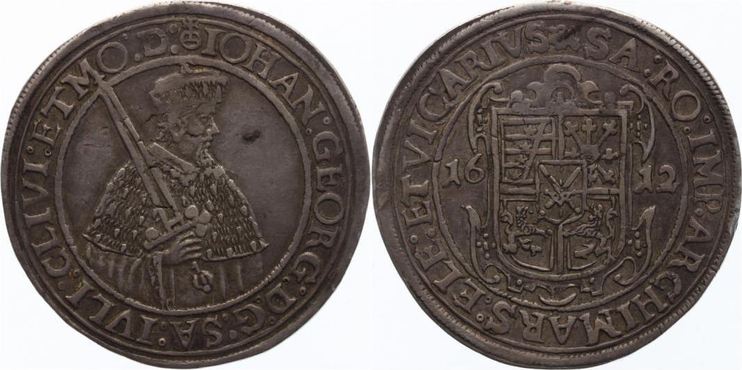 1/2 Reichstaler 1612 Sachsen-Albertinische Linie Johann Georg I. und August 1611-1615. Schöne Patina, kleiner Fleck, attraktives sehr schön
