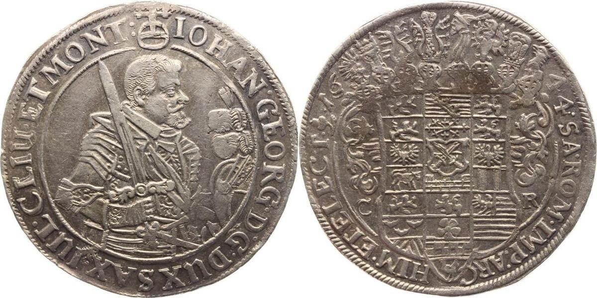Taler 1644 CR Sachsen-Albertinische Linie Johann Georg I. 1615-1656. Fast vorzüglich