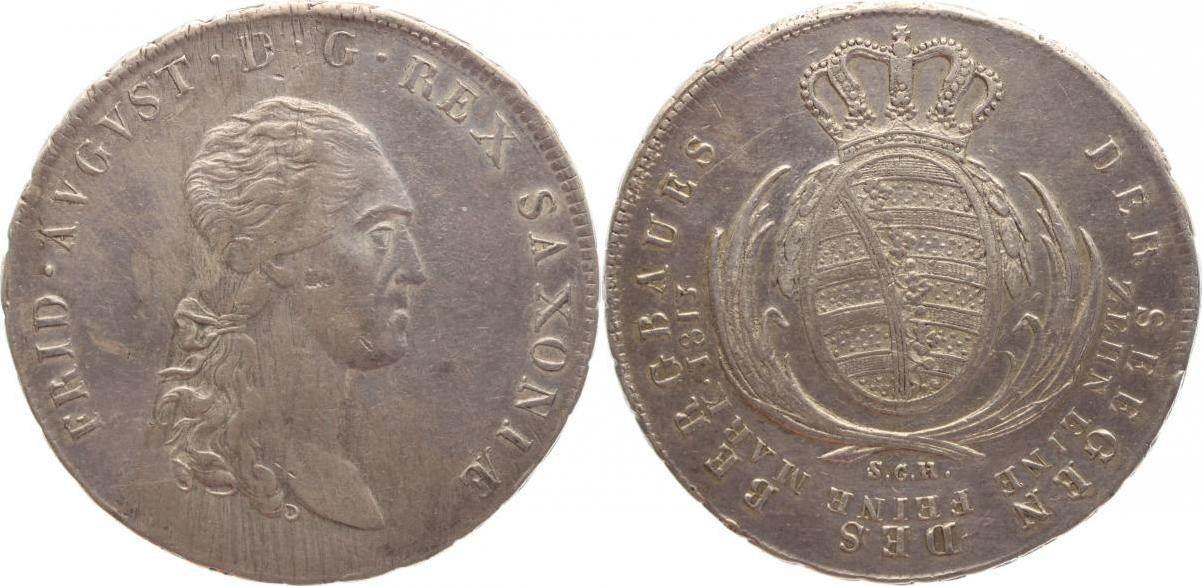 Ausbeutetaler 1813 Sachsen-Albertinische Linie König Friedrich August I. 1806-1827. Min.Justiert, sehr schön+