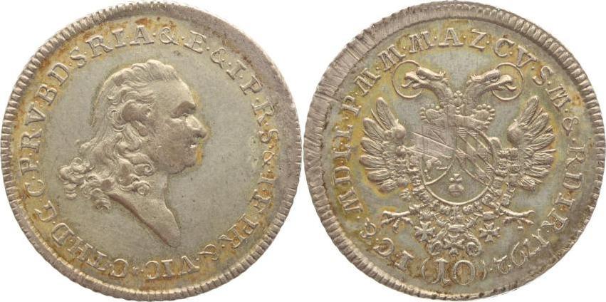 10 Konventionskreuzer 1792 Bayern Karl Theodor 1777-1799. Schöne Patina, justiert, vorzüglich
