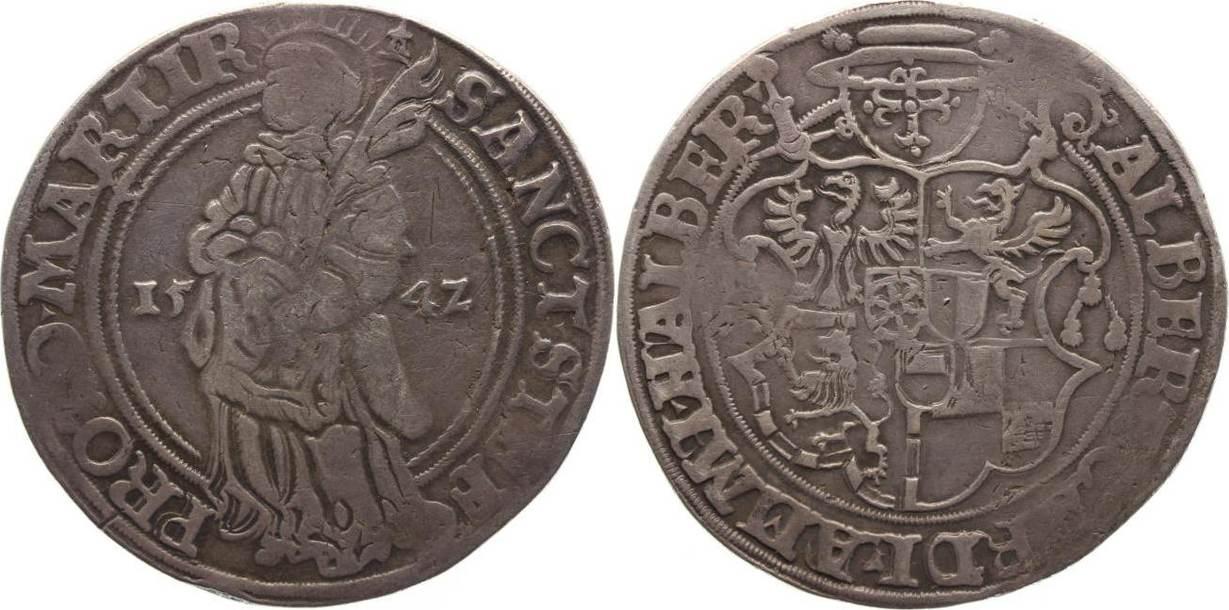 Taler 1542 Halberstadt-Bistum Albrecht von Brandenburg 1513-1545. Patina, knapp sehr schön
