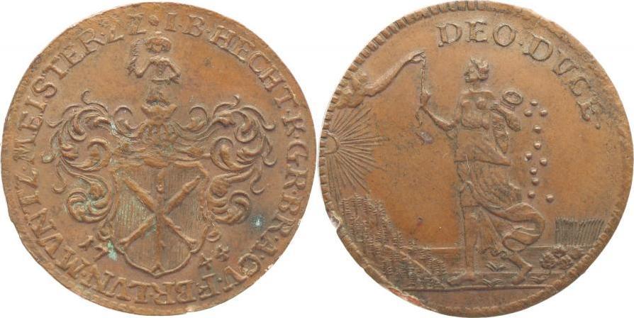 Rechenpfennig 1744 Harz-Münzmeisterpfennige Johann Benjamin Hecht, Zellerfeld 1739-1763. Min.Belag, Randfehler, fast vorzüglich