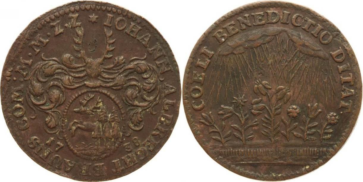 Rechenpfennig 1738 Harz-Münzmeisterpfennige Johann Albrecht Brauns, Zellerfeld 1731-1739. Sehr schön+