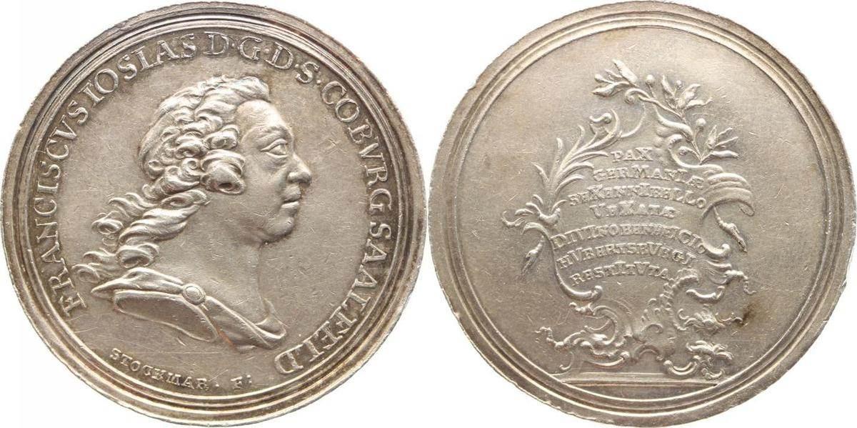 Silbermedaille 1763 Sachsen-Coburg-Saalfeld Franz Josias 1745-1764. Winz. Randfehler, vorzüglich
