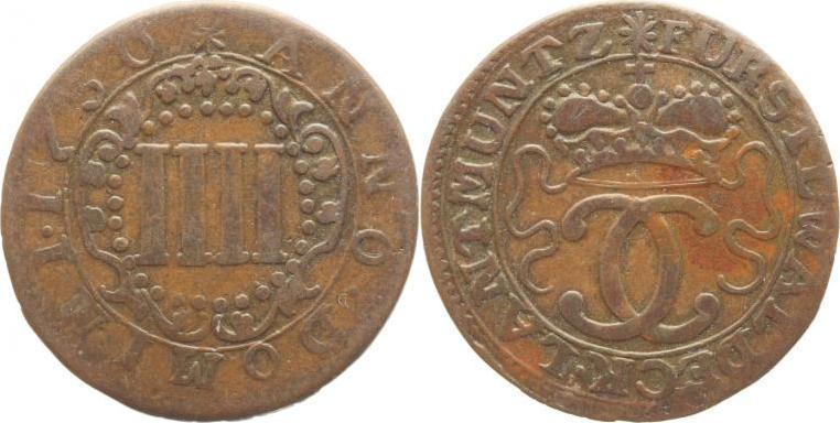 Cu IIII Pfennig 1730 Waldeck Karl August Friedrich 1728-1763. Fast sehr schön