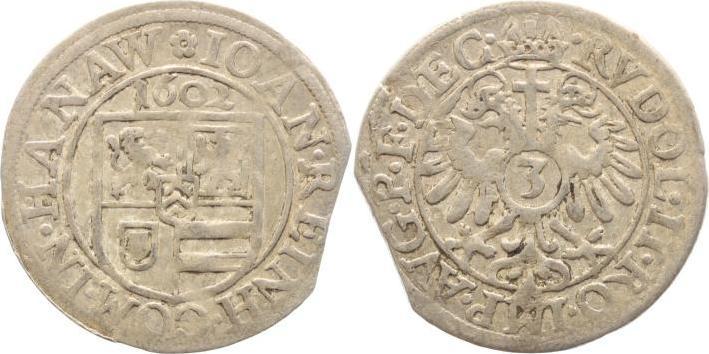 3 Kreuzer 1602 Hanau-Lichtenberg Johann Reinhard I. 1599-1625. Zainende, sehr schön