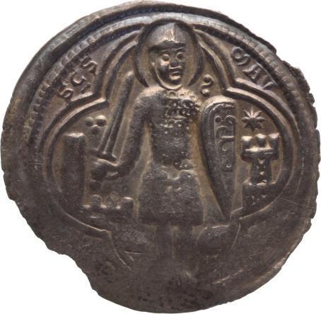 Brakteat 1152-1192 Magdeburg-Erzbistum Wichmann von Seeburg 1152-1192. Schöne Patina, Prägeschwäche, sehr schön