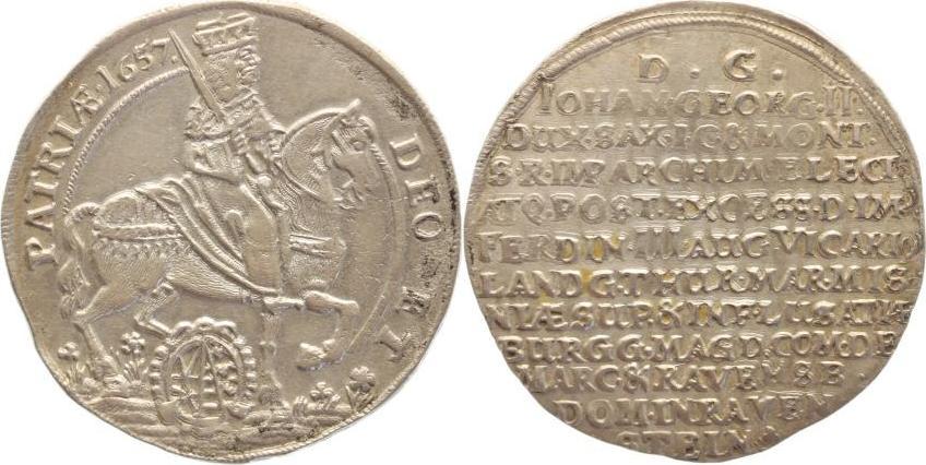 1/4 Taler 1657 Sachsen-Albertinische Linie Johann Georg II. 1656-1680. Sonst sehr schön-vorzüglich