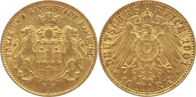 10 Mark Gold 1901 J Hamburg gutes sehr schön