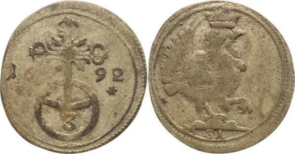 Dreier 1692 BA Henneberg, Grafschaft Gemeinschaftsprägungen nach der Teilung 1691-1702, Anteil Gotha-Weimar. Sehr selten, fast sehr schön