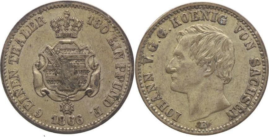 1/6 Taler 1866 B Sachsen-Albertinische Linie Johann 1854-1873. Patina, sehr schön+