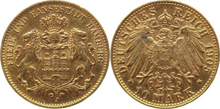 10 Mark Gold 1905 J Hamburg Patina, sehr schön-vorzüglich