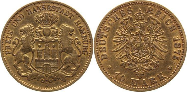 10 Mark Gold 1875 J Hamburg sehr schön