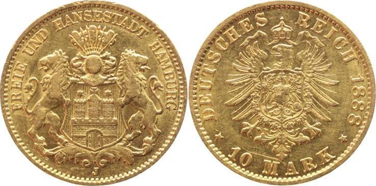 10 Mark Gold 1888 J Hamburg kleine Randfehler, kleine Kratzer, sehr schön