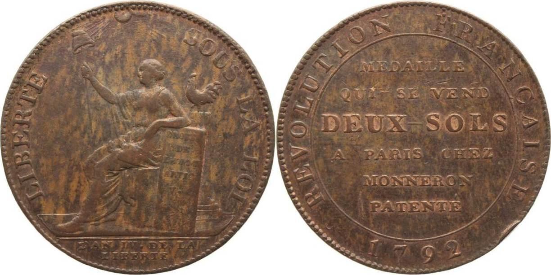 2 Sols 1792 Frankreich Constitution 1791-1792. Schöne Patina, Randfehler, sehr schön-vorzüglich
