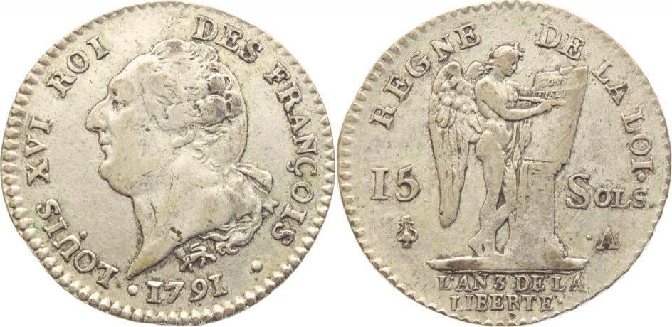 15 Sols 1791 A Frankreich Ludwig XVI. 1774-1793. Sehr schön+