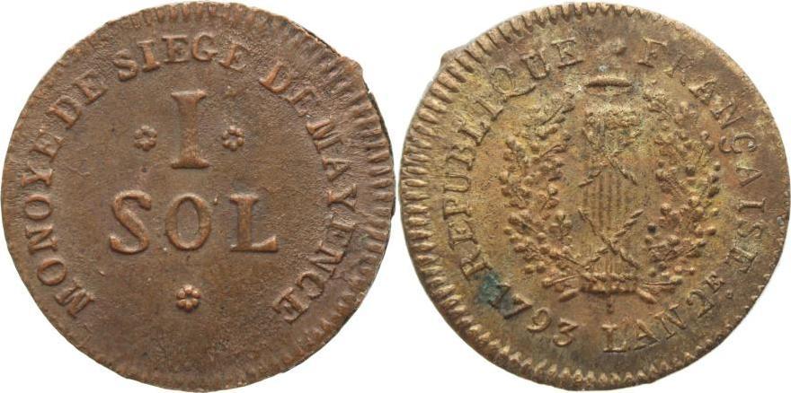 Cu 1 Sol 1793 Mainz-Stadt Min.Rau, fast vorzüglich