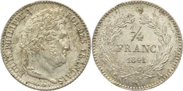 1/4 Franc 1841 A Frankreich Louis Philippe I. 1830-1848. Vorzüglich