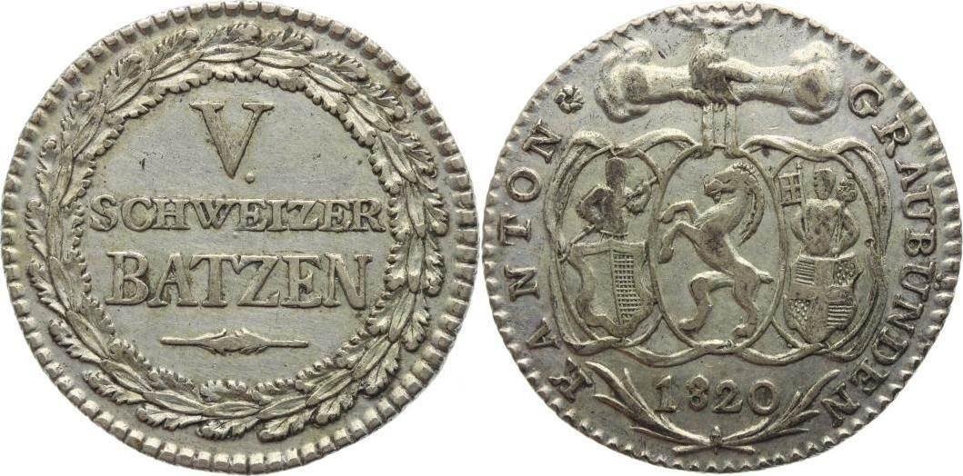 5 Batzen 1820 Schweiz-Graubünden Vorzüglich-