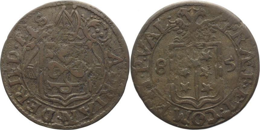1/2 Batzen 1685 Schweiz-Sitten/Bistum Adrian V. von Riedmatten 1672-1701. Schöne Patina, fast sehr schön