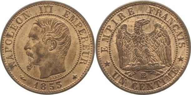 Centime 1853 BB Frankreich Napoleon III. 1852-1870. Vorzüglich