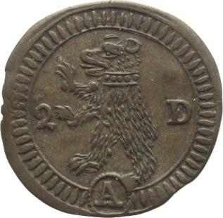 2 Pfennig Schweiz-St. Gallen, Stadt Schöne Patina, winz. Randfehler, vorzüglich