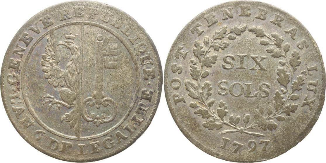 6 Sols 1797 Schweiz-Genf, Stadt Schöne Patina, sehr schön+