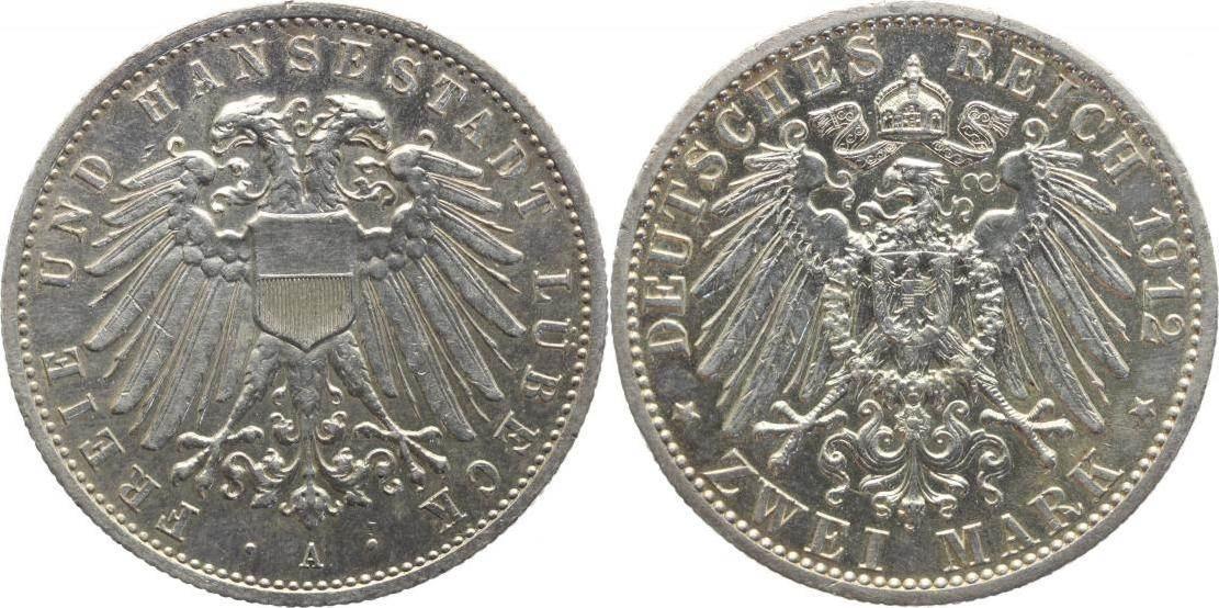 2 Mark 1912 A Lübeck Kleiner Kratzer, winz. Randfehler, vorzüglich-Stempelglanz