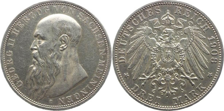 3 Mark 1908 Sachsen-Meiningen Georg II. 1866-1914. Winz. Kratzer, vorzüglich-Stempelglanz