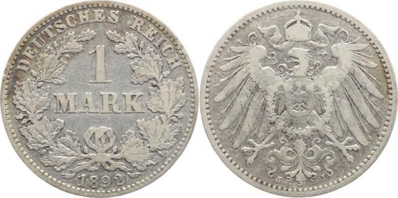 1 Mark 1892 J Kleinmünzen Schön+