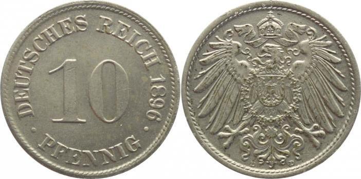 10 Pfennig 1896 D Kleinmünzen Vorzüglich