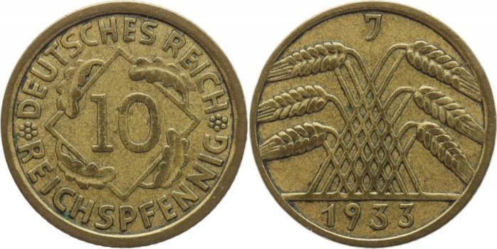 10 Reichspfennig 1933 J Weimarer Republik Sehr schön+