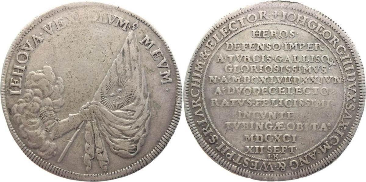 Sterbetaler 1691 IK Sachsen-Albertinische Linie Johann Georg III. 1680-1691. Sehr schön