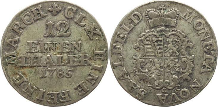 1/12 Taler 1785 Sachsen-Coburg-Saalfeld Ernst Friedrich 1764-1800. Selten, sehr schön+