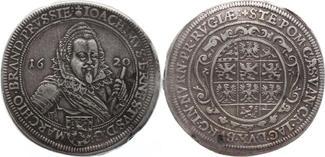 Taler 1620  F Brandenburg-Ansbach Joachim Ernst 1603-1625. Schöne Patina, Schrötlingsfehler, kleine