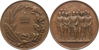 Bronzemedaille 1871 Brandenburg-Preußen Wilhelm I. 1861-1888. Schöne Patina, winz. Randfehler, vorzügl