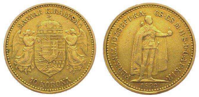 10 Korona Gold 1892 Ungarn Franz Josef I. 1848-1916. Sehr schön