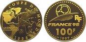 100 Francs Gold 1998 Frankreich Fünfte Republik seit 1959. Polierte Platte
