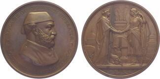 Bronzemedaille 1867 Türkei Abdul Aziz (AH 1277-1293) 1861-1876. Prachtexemplar. Fast Stempelglanz
