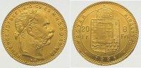 Ungarn 8 Florin (20 Francs) Gold Franz Josef I. 1848-1916.